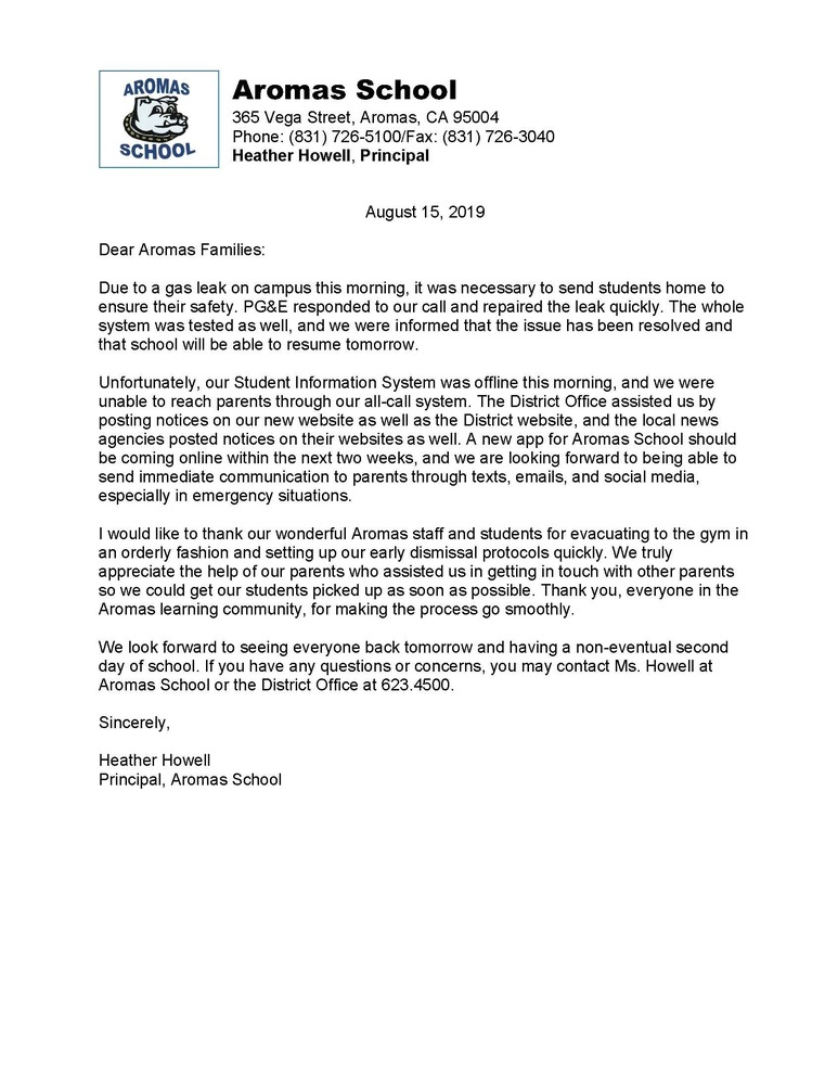 Parent Letter Regarding Today's Gas Leak