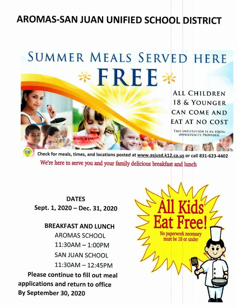 FREE BREAKFAST AND LUNCH TO ALL CHILDREN IN AROMAS DURING DISTANCE LEARNING