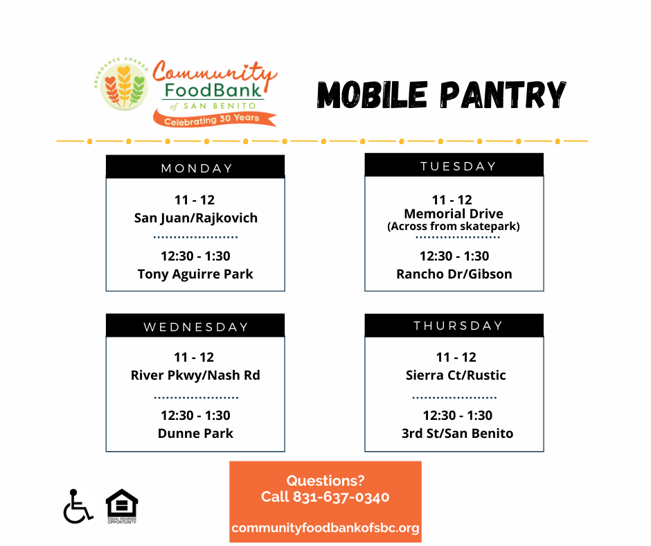 Mobile Pantry Schedule and Announcement!