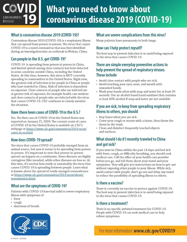 Coronavirus Fact Sheet & Guidance