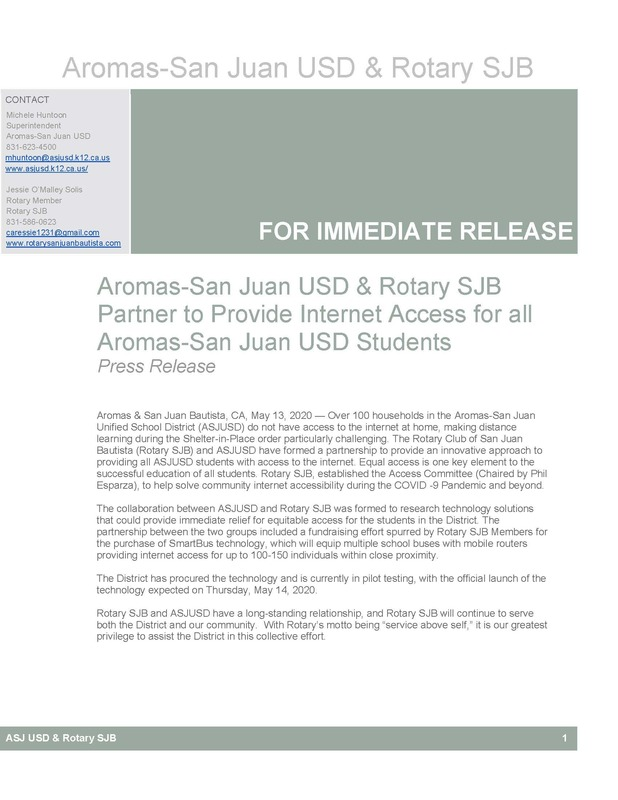 Aromas-San Juan USD & Rotary SJB Partner to Provide Internet Access for All Aromas-San Juan USD Students