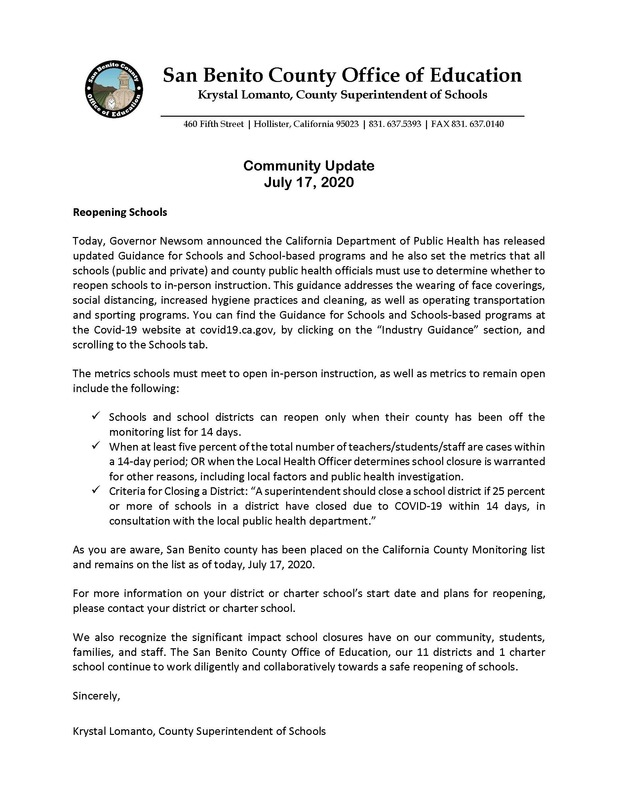 Reopening of Schools Update - July 17, 2020