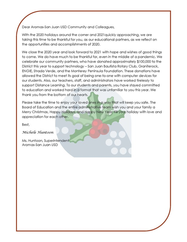 Superintendent Holiday Message