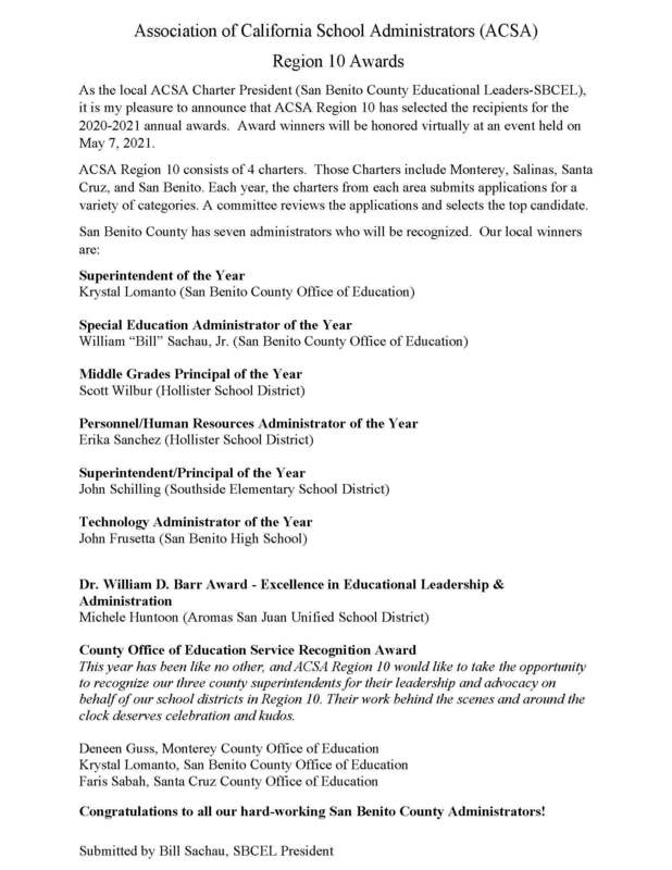ACSA Press Release-Region 10 Awards