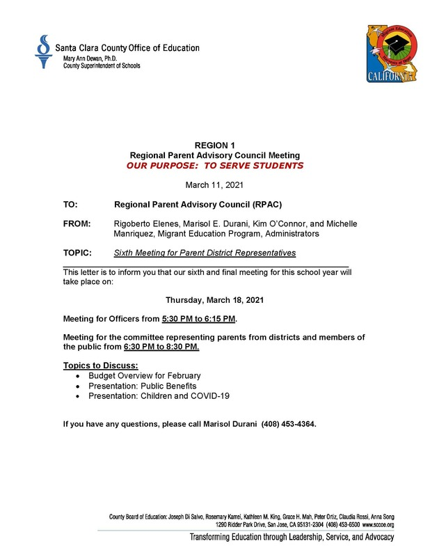 Regional Parent Advisory Council Meeting-March 18, 2021
