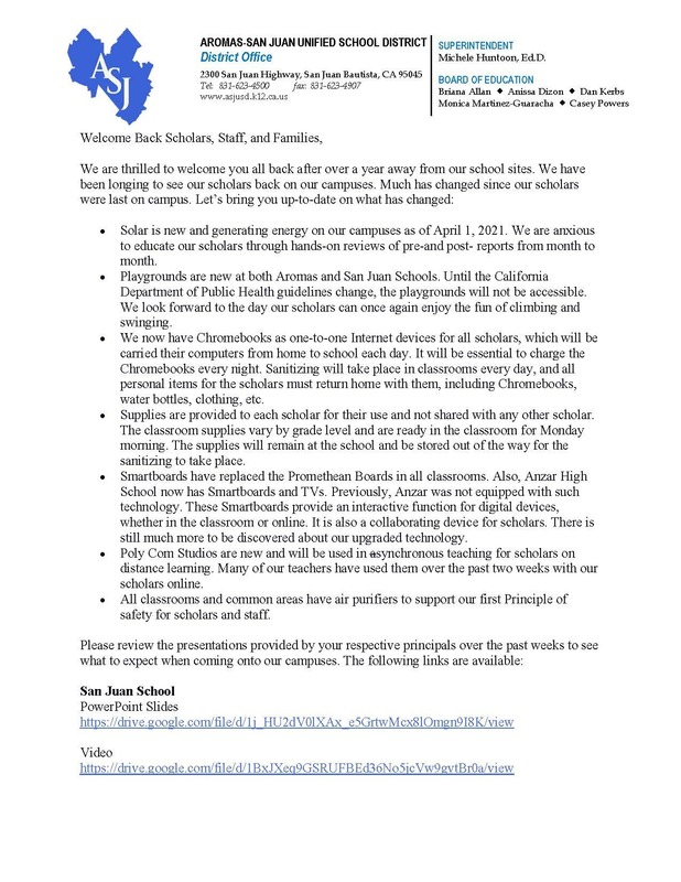 REOPENING OF SCHOOLS LETTER FROM SUPERINTENDENT HUNTOON