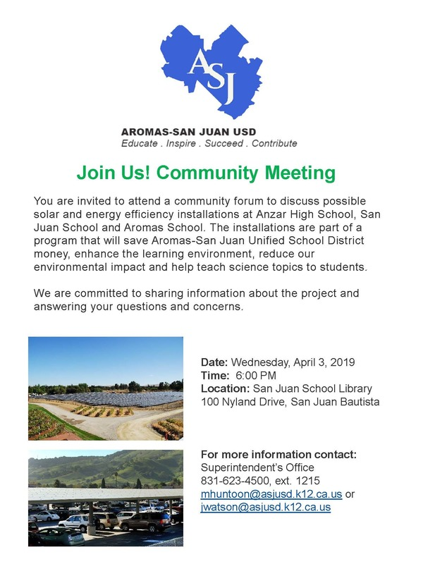 SOLAR COMMUNITY INFORMATION MEETING - April 3rd at 6 p.m. @ San Juan School