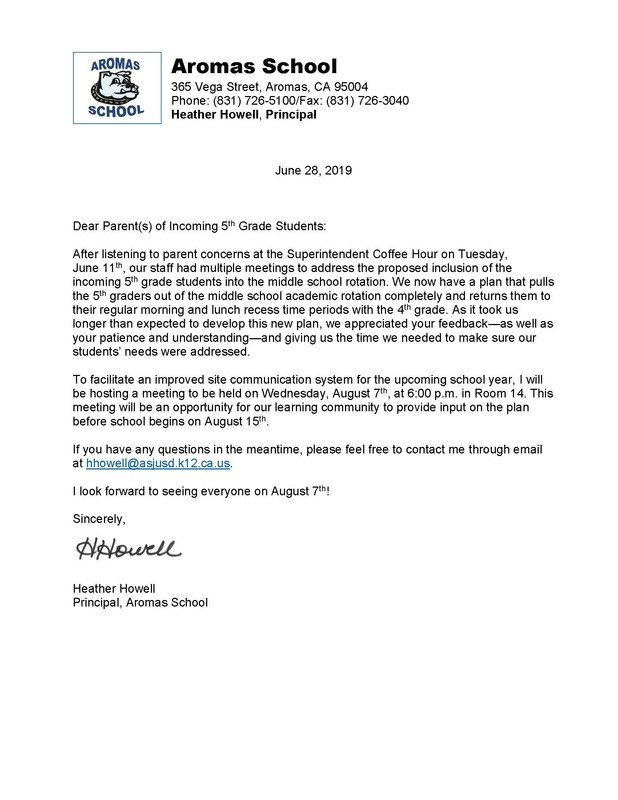 2019-20 Aromas School 5th Grade Parent Bulletin